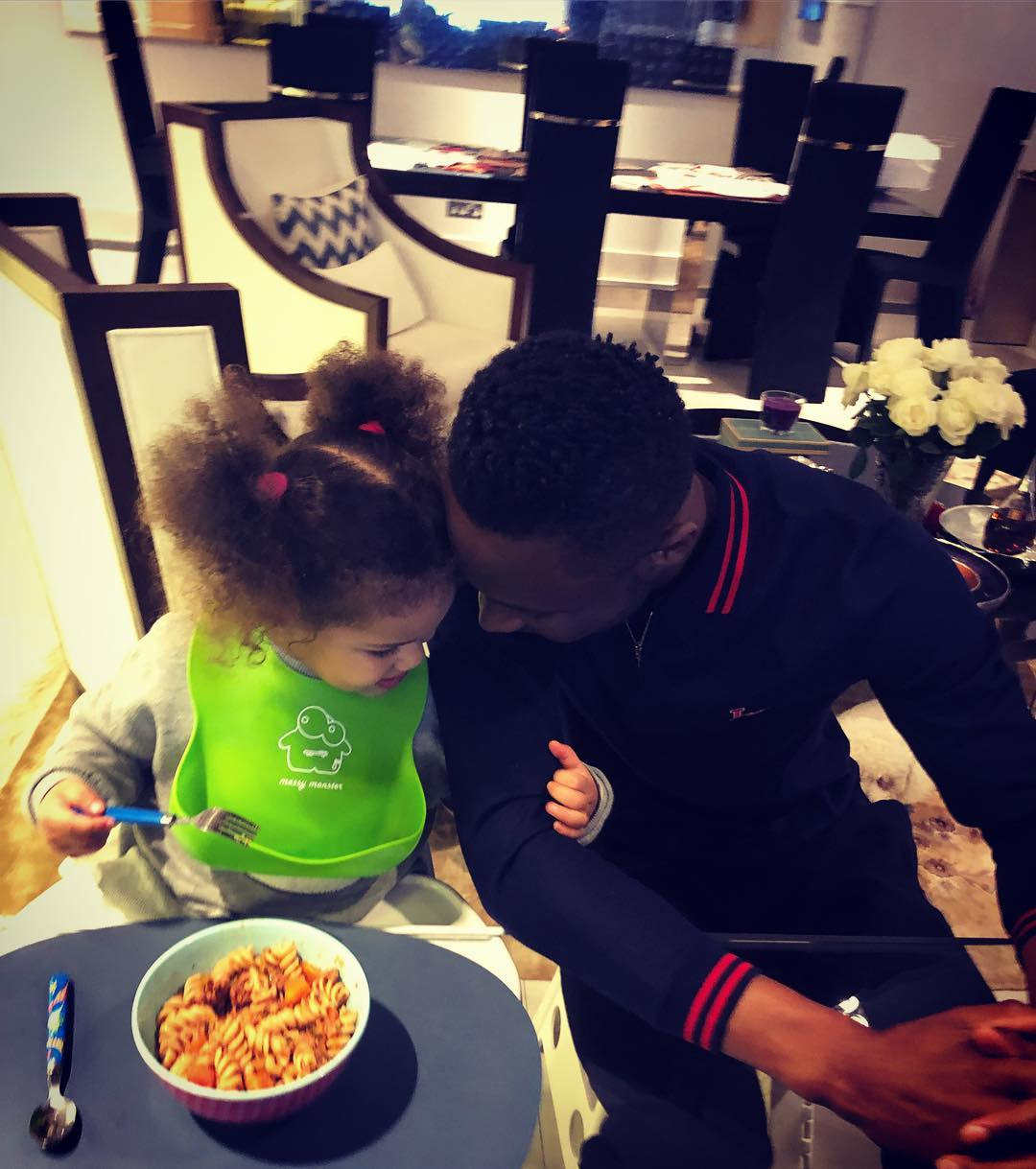 Mikel Obi With One Of Twin Daughters