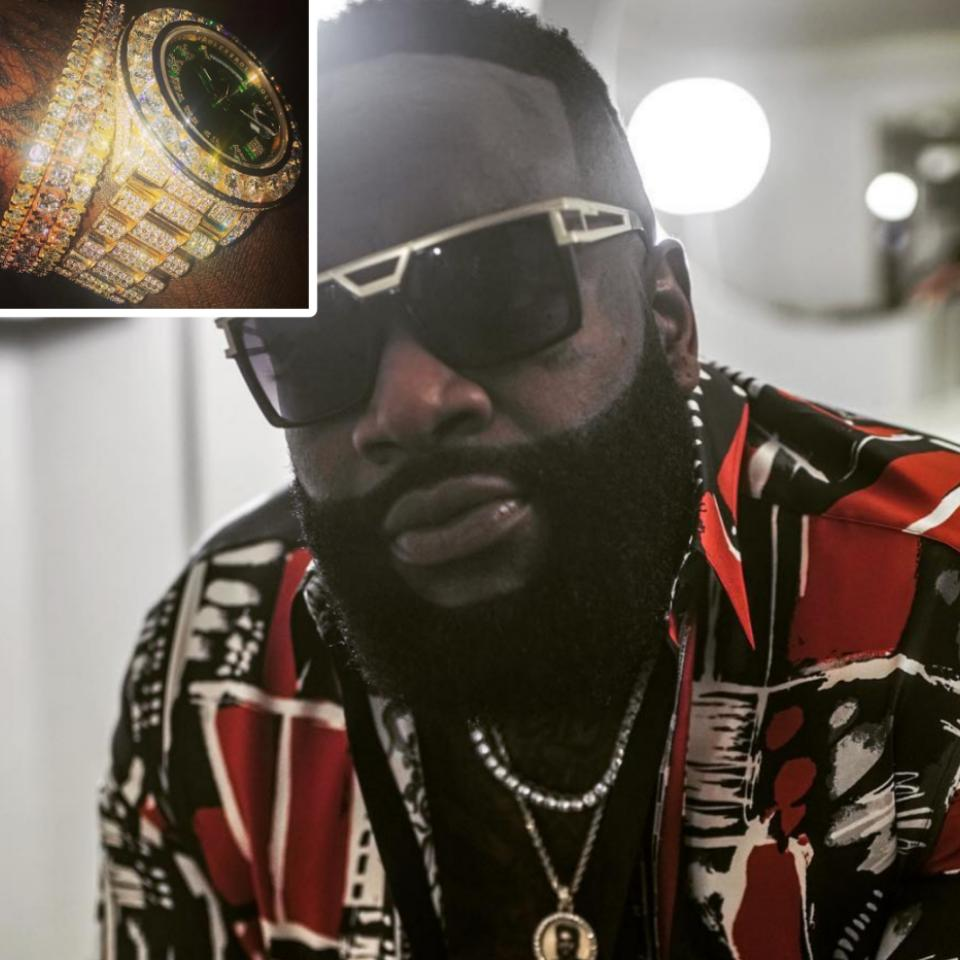 Rick Ross Shows Off His Iced-Out Jewelry On His Wrist