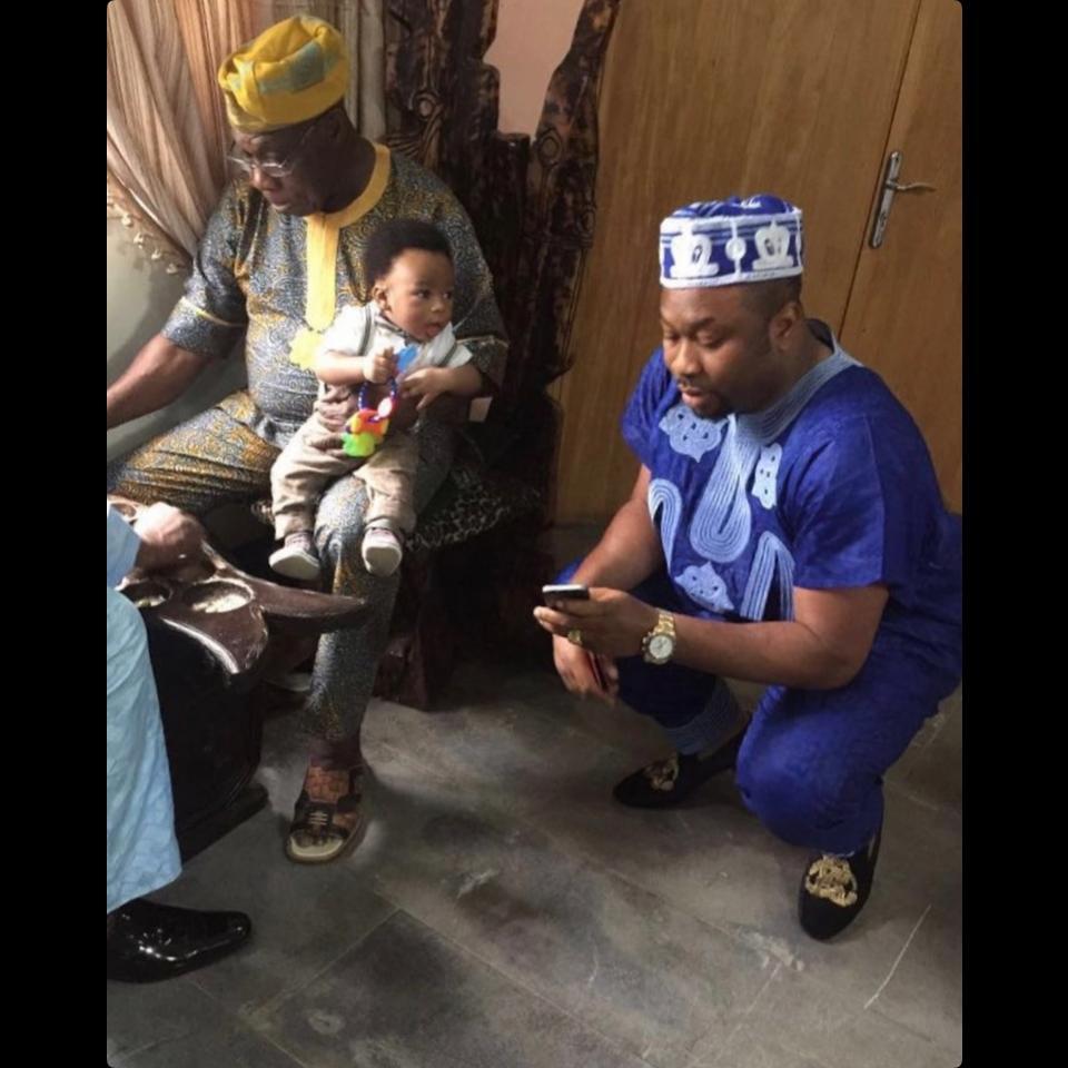 Olakunle Churchill Shares Photos Of Olusegun Obasanjo Carrying His Son