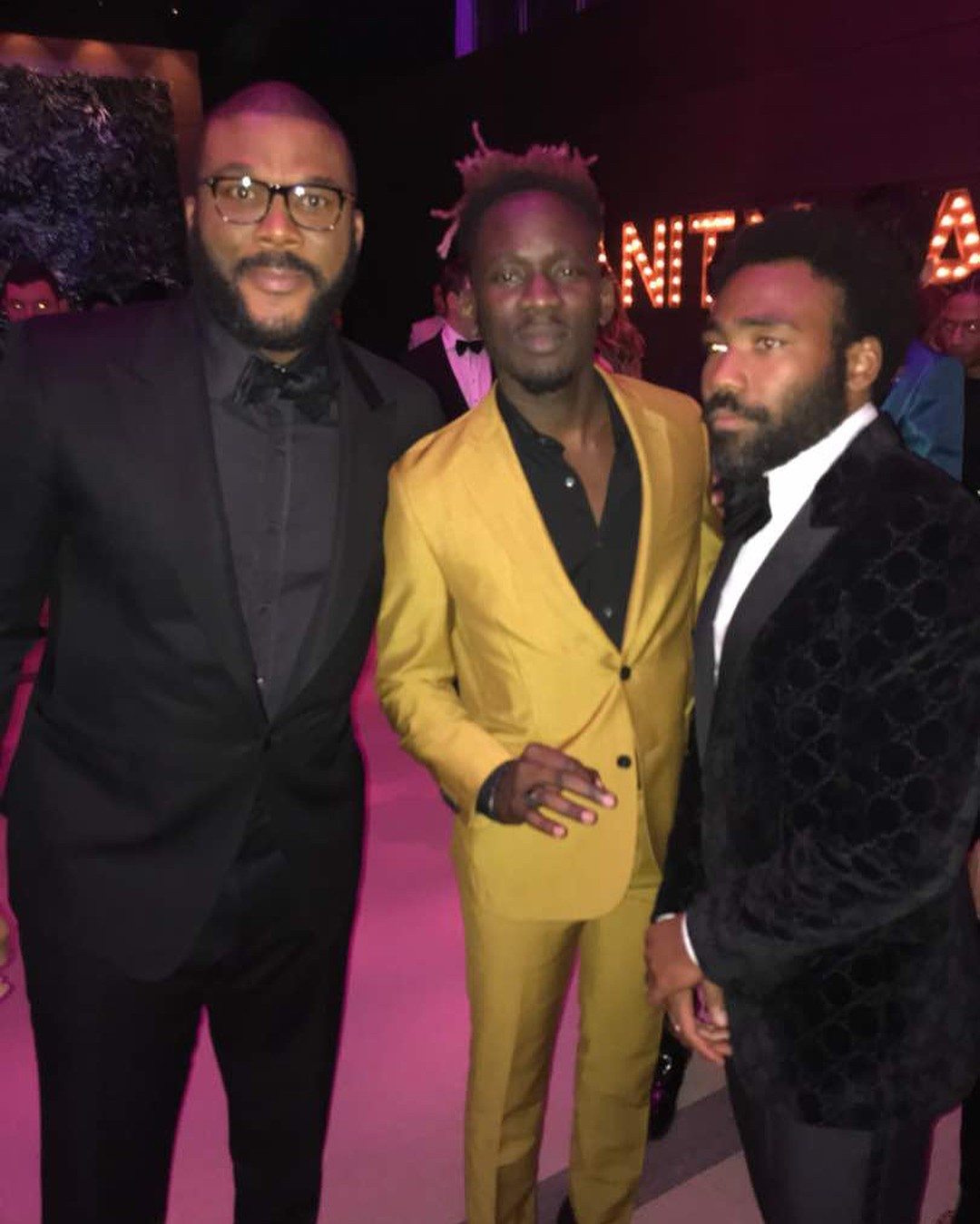 Mr Eazi Poses With Tyler Perry Vanity Fair Oscar Party 2018