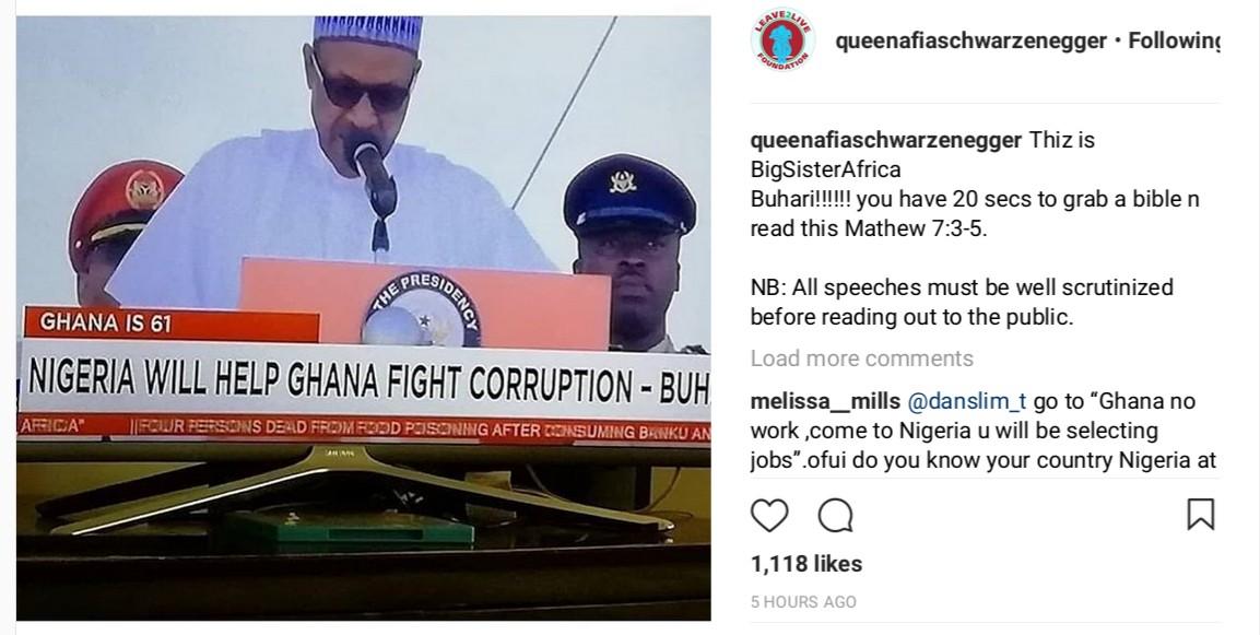 Afia Schwarzenegger Calls Out President Buhari For Saying Nigeria Will Help Ghana Fight Corruption (2)