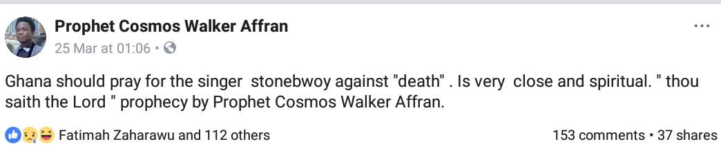 Prophet Cosmos Walker Affran Prophesying On Stonebwoy (2)