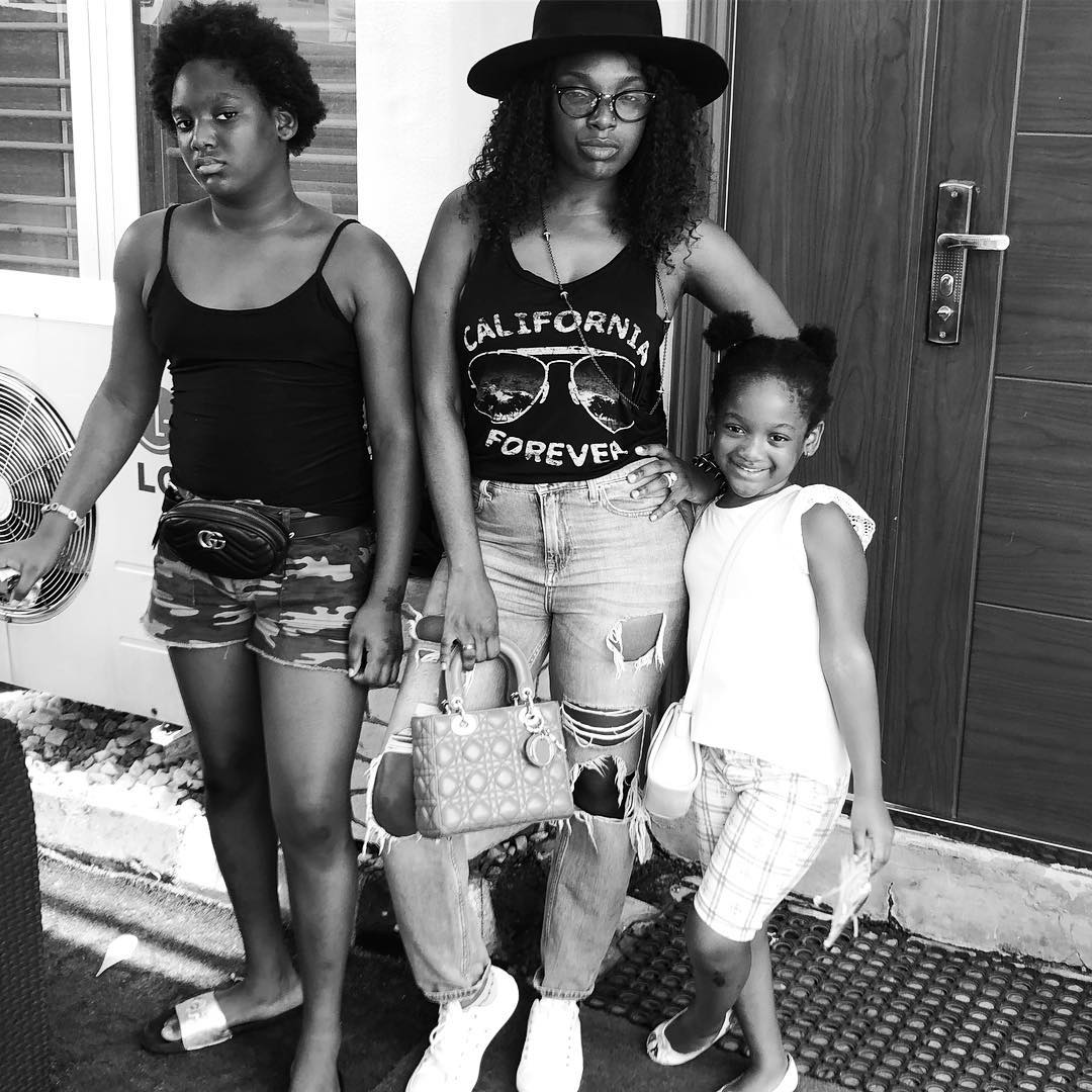 Annie Idibia Steps Out With Daughters Isabella And Olivia Rocking Ripped Jeans (2)