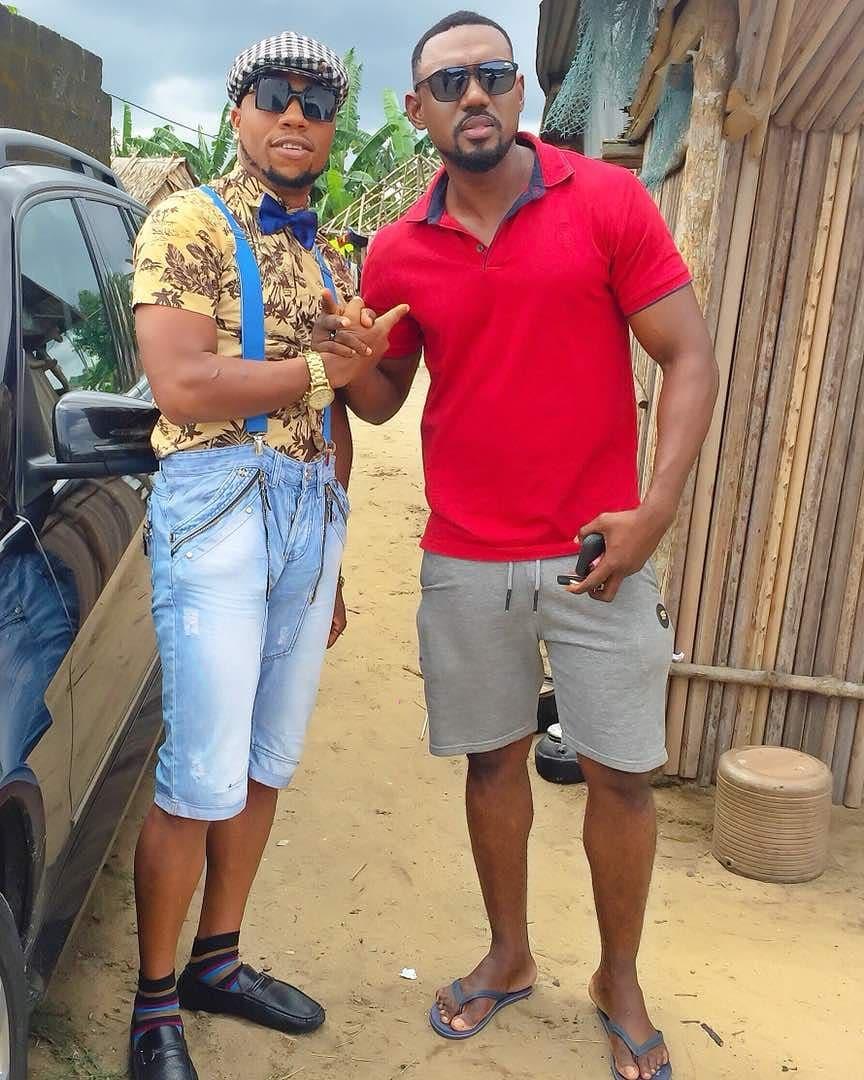 Charles Okocha And Eddie Watson Strike Pose On Set The Village Movie