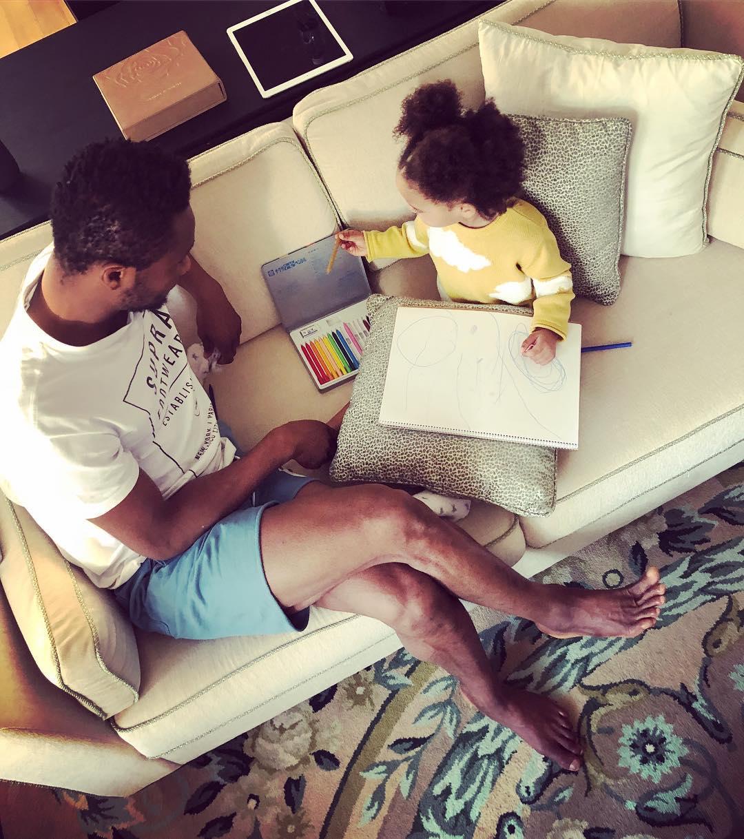 Mikel Obi Daughter Showing Him Her Drawing Skills