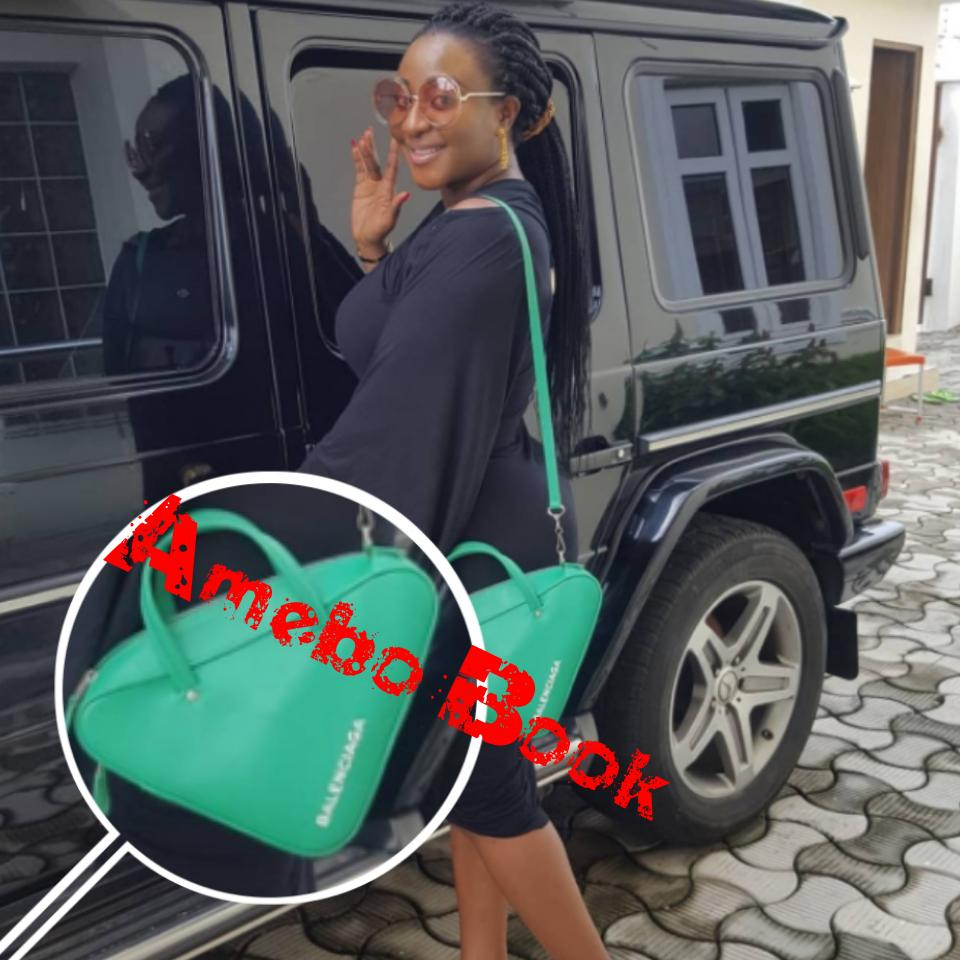 Ini Edo Steps Out Rocking Her Balenciaga Triangle Handbag