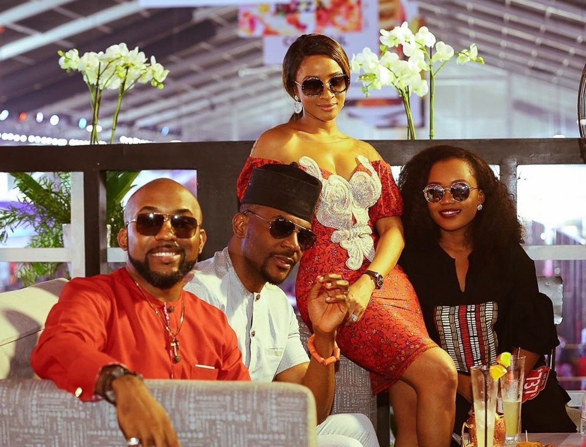 Banky W And Adesua Etomi Pose With Ebuka Obi-Uchendu And His Wife Cynthia (2)