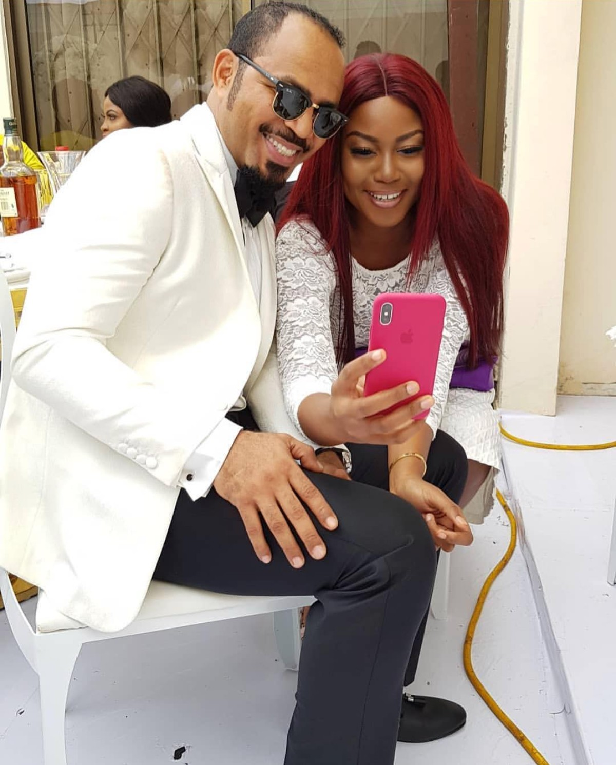 Yvonne Nelson And Ramsey Nouah At John Dumelo And Mawunya All White Wedding