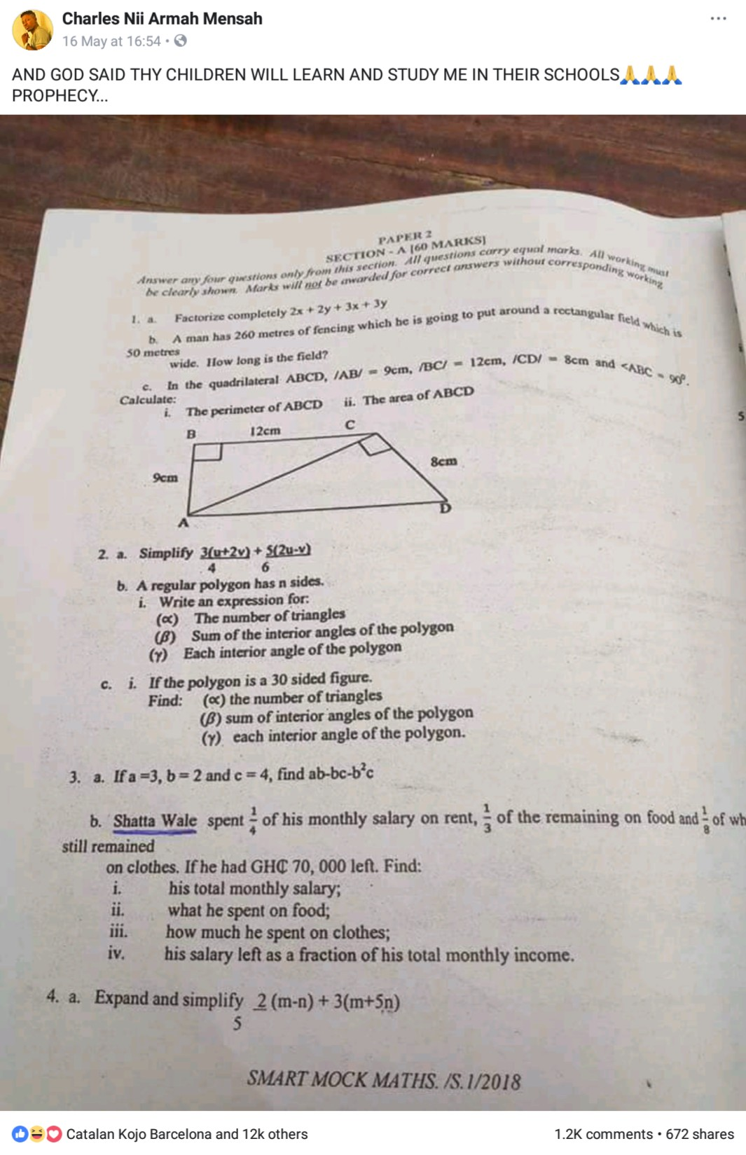 Shatta Wale Name Was Used To Set Question In Examination (3)