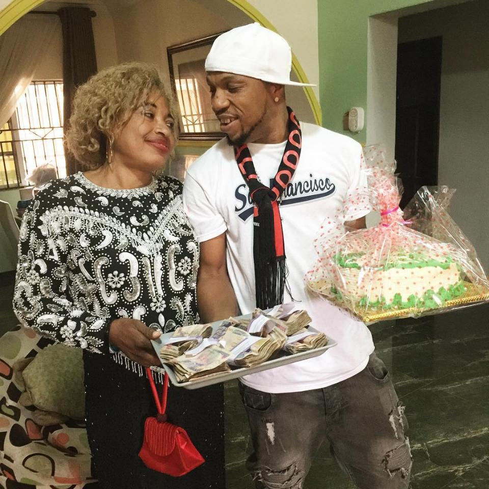 Charles Okocha Gifts His Mum Tray Full Of Cash