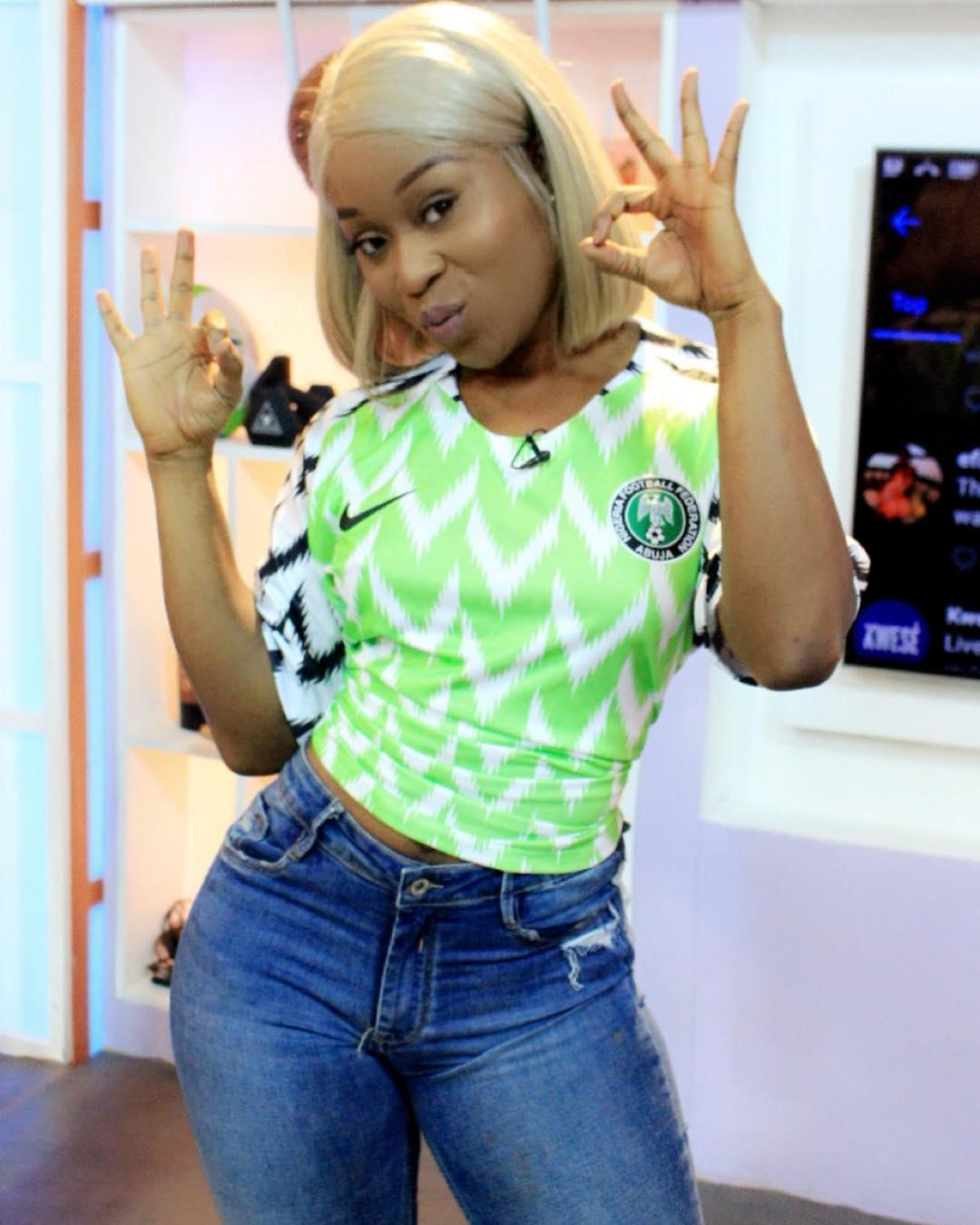 Efia Odo Rocking Super Eagles World Cup Jersey (2)