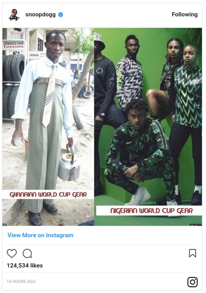 Snoop Dogg Shades Ghanaians But Heaps Praises On Nigerian World Cup Jersey (2)