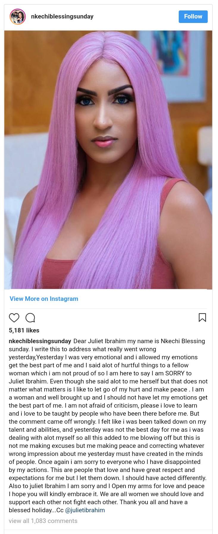 Nkechi Blessing Sunday Apologizes To Juliet Ibrahim (2)
