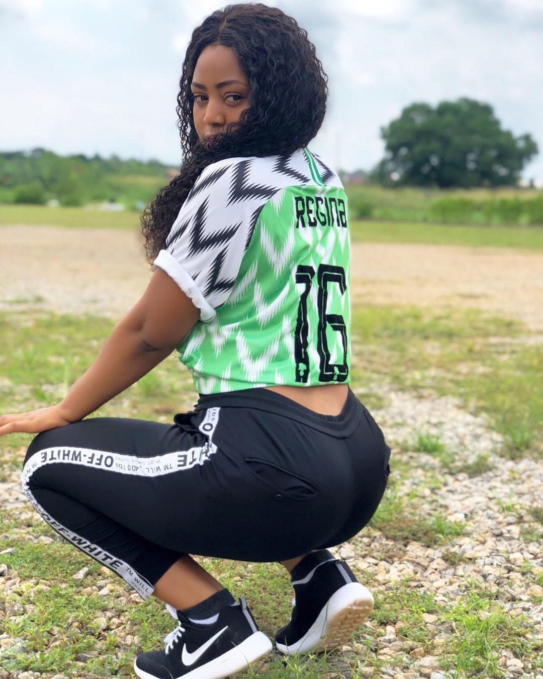Regina Daniels Rocks Nigeria's World Cup Jersey