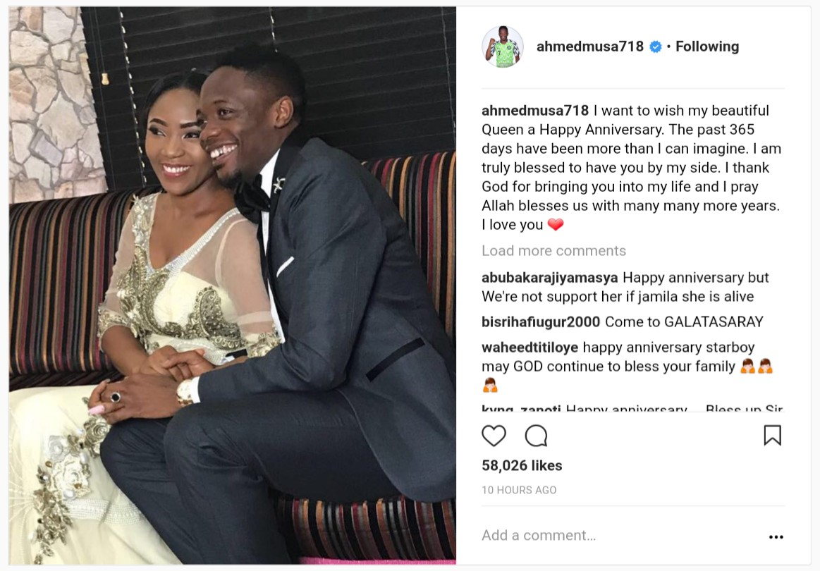 Ahmed Musa Celebrates Second Wife Juliet Ejue On 1st Year Wedding Anniversary (2)