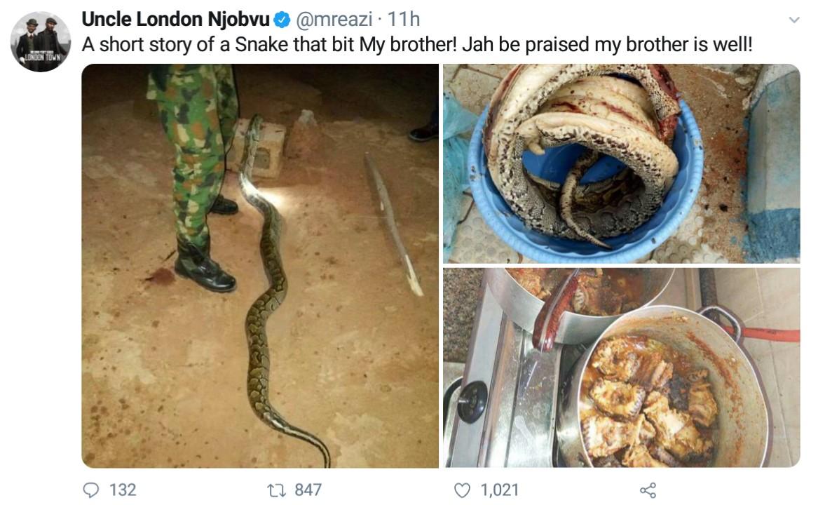 Nigerian Soldier Kills And Cooks Huge Python That Bit Him (5)