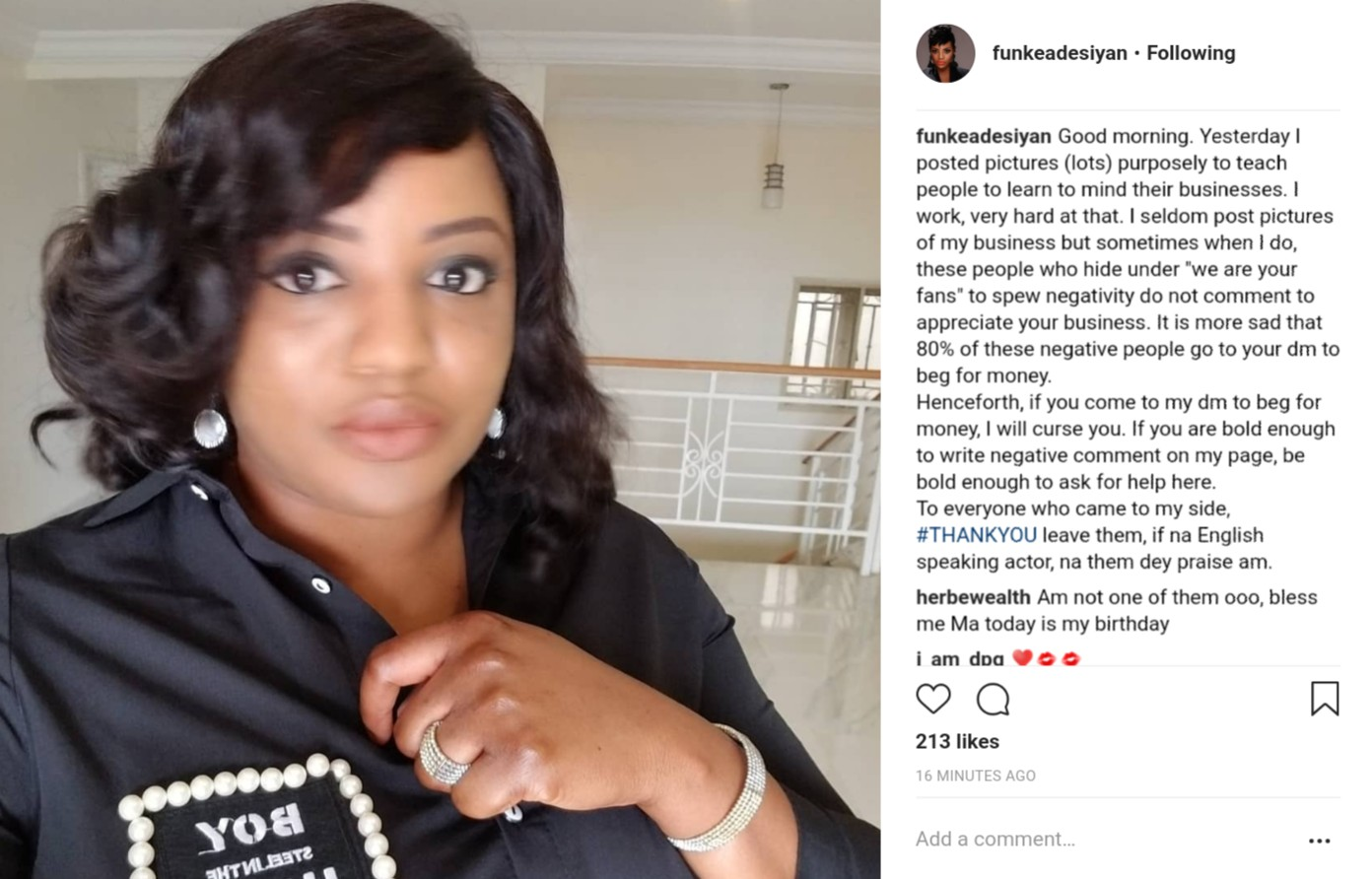 Funke Adesiyan To Curse Those Who Come To Her DM To Beg For Money (2)