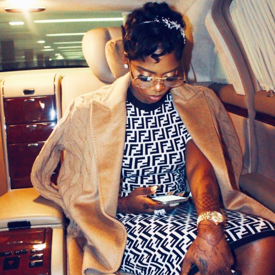 Tiwa Savage Pictured On A Plane