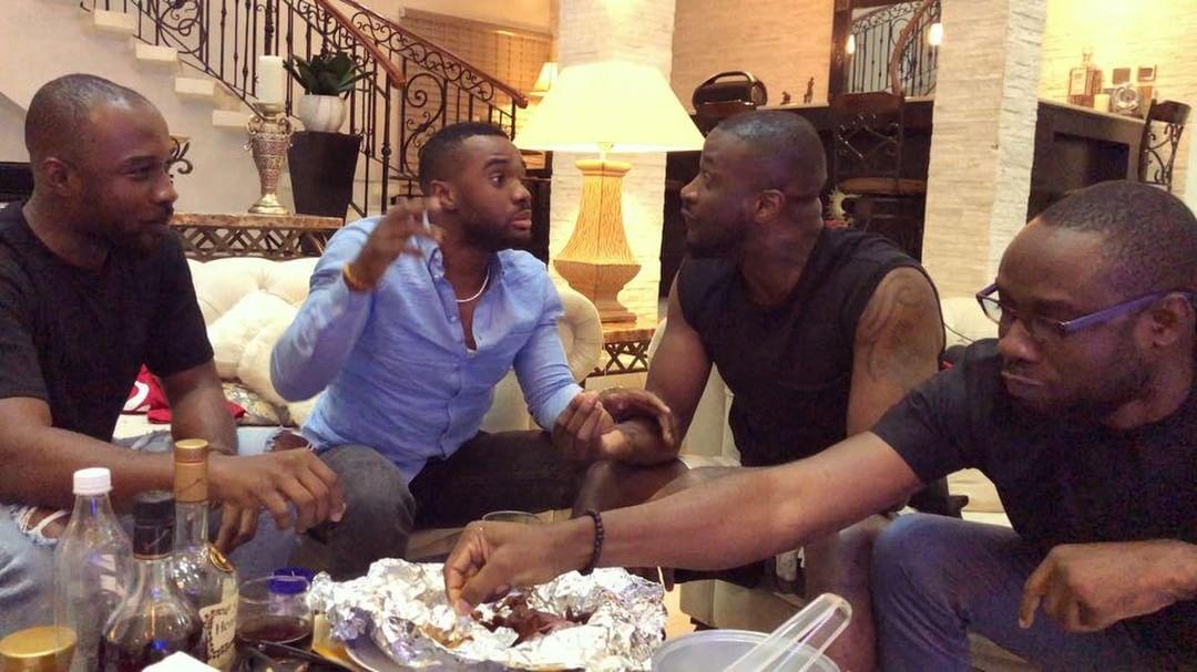 Peter Okoye And Williams Uchemba Eating Suya (9)