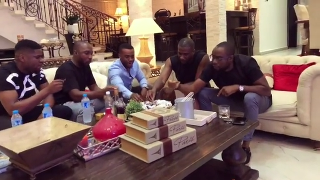 Peter Okoye And Williams Uchemba Eating Suya (2)
