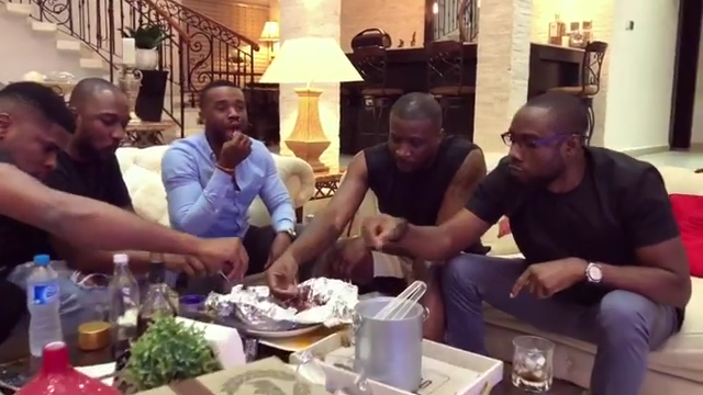 Peter Okoye And Williams Uchemba Eating Suya