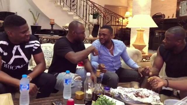 Peter Okoye And Williams Uchemba Eating Suya (4)