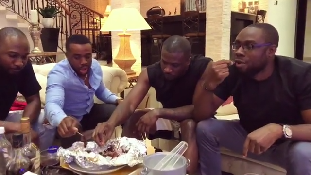 Peter Okoye And Williams Uchemba Eating Suya (6)