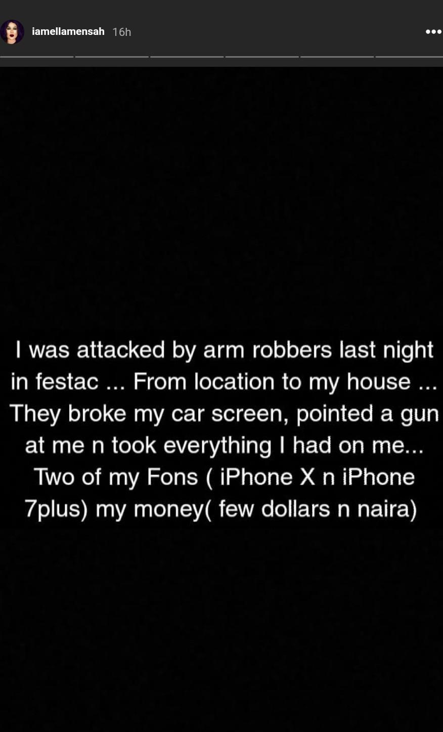 Ella Mensah Robbed At Gunpoint In Festac (2)