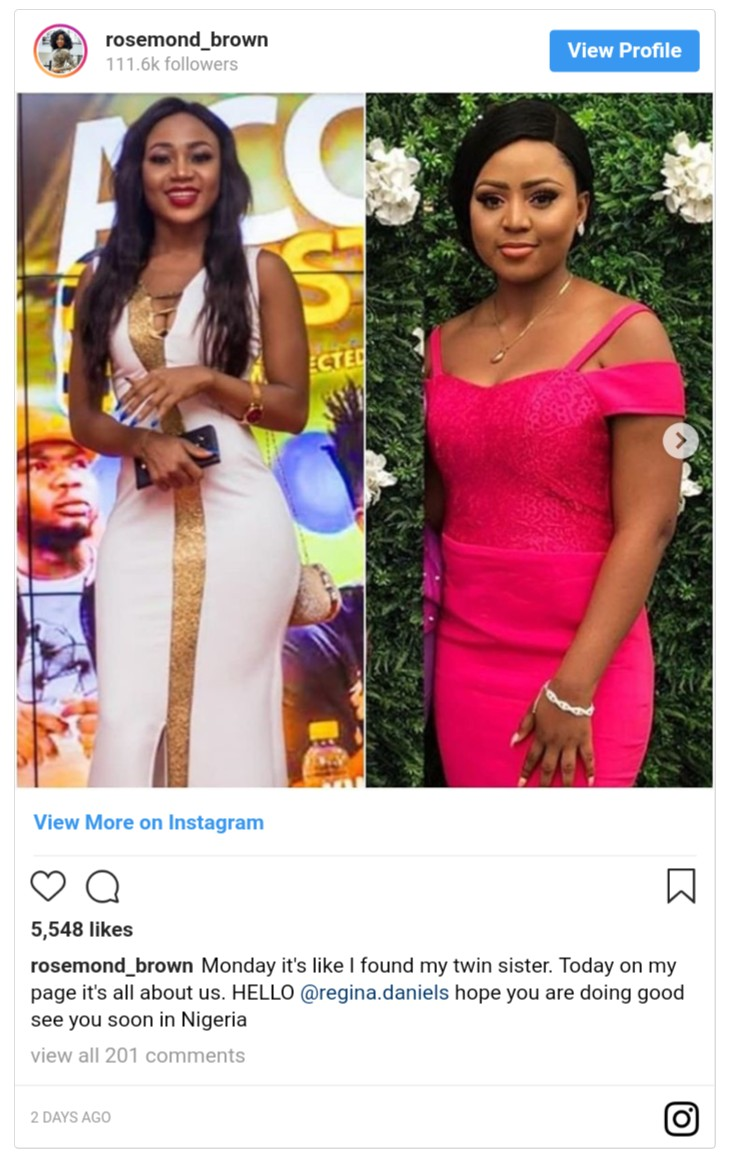Rosemond Brown Thinks Regina Daniels Her Look-Alike Twin Sister (2)