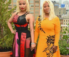 Nicki Minaj And Mother Twinning With Platinum Blonde Wet Hair