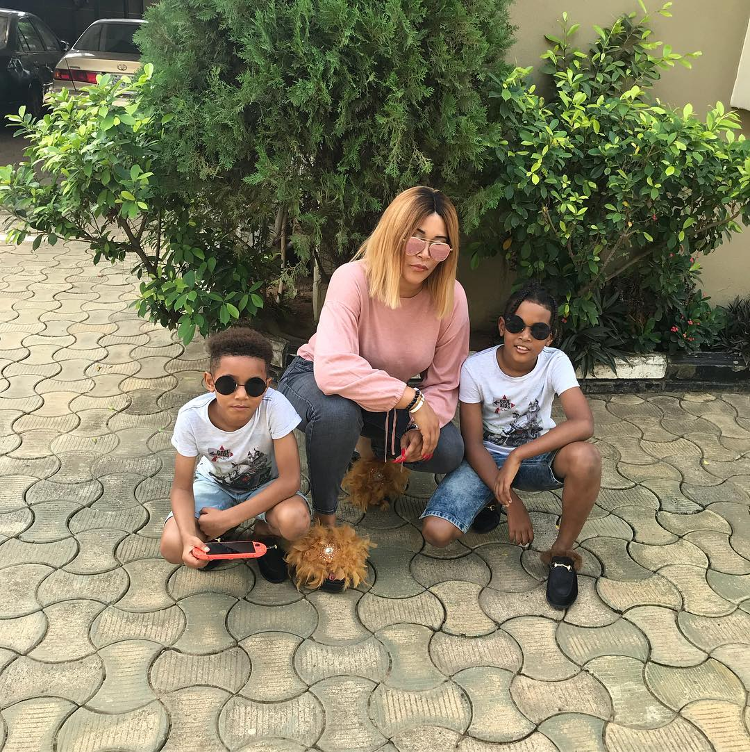 Adunni Ade With Her Sons D'Marion and Ayden