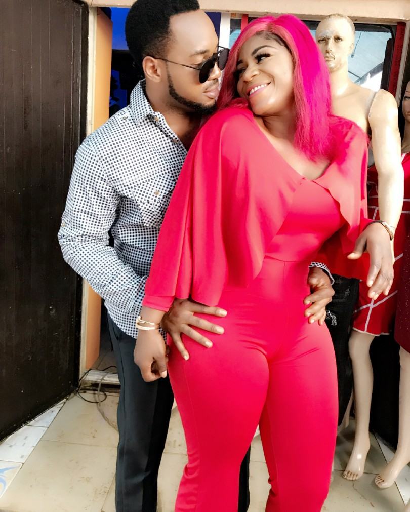 Nonso Diobi Poses With Destiny Etiko On Set