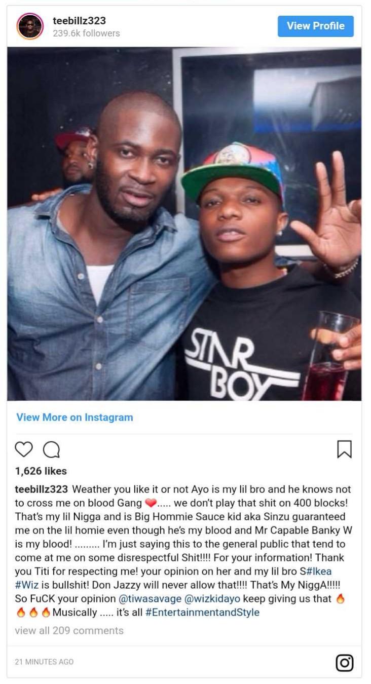Teebillz Reacts To Wizkid And Tiwa Savage Dating Rumours (2}