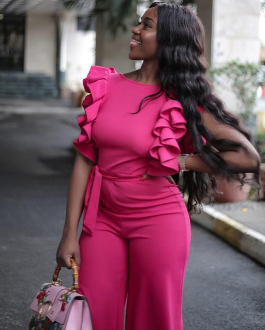 Chioma Stuns In Pink Jumpsuit (2)