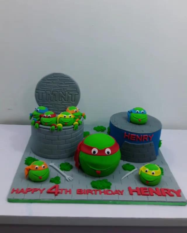 Mercy Johnson Son Henry 4th Birthday Ninja Turtle Cake (5)