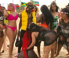 Shatta Wale Surrounds Himself With Bikini Girls In Island Video Shoot