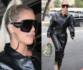 Khloe Kardashian Black Leather Jumpsuit